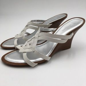 .Cole Haan. Leather Sandal Stacked Heel Wedge